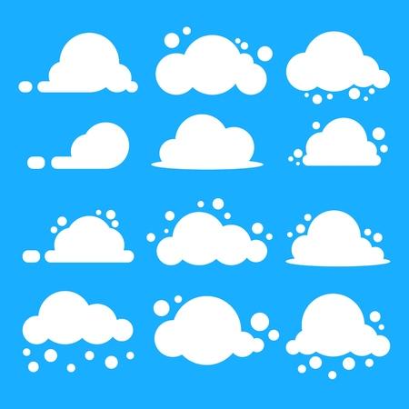 Set di nuvole piatte. Nuvole bianche su sfondo blu. Eps10 vettore. Vettoriali