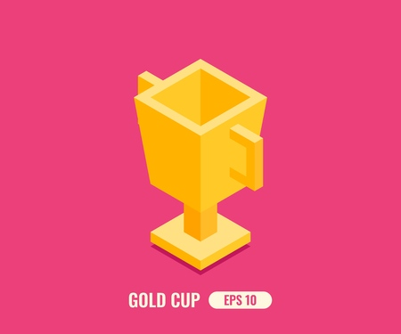 Gold cup in flat isometric 3D style. Vector illustration. Çizim