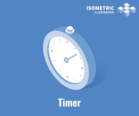 Timer icon. Stopwatch vector 3D illustration isolated on blue background Stockfoto - 126856029