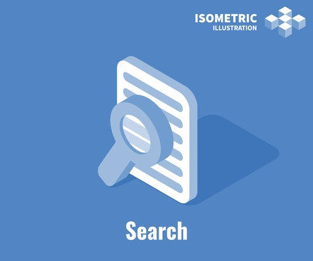 Search document icon. Documents and magnifying glass, Vector 3D illustration isolated on blue background Stockfoto - 126856031