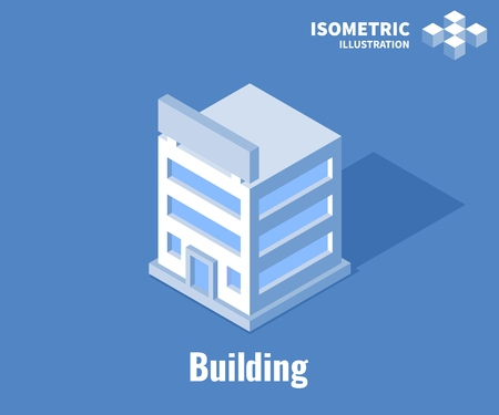 Building icon. Business office, Corporate building. Vector 3D illustration isolated on blue background