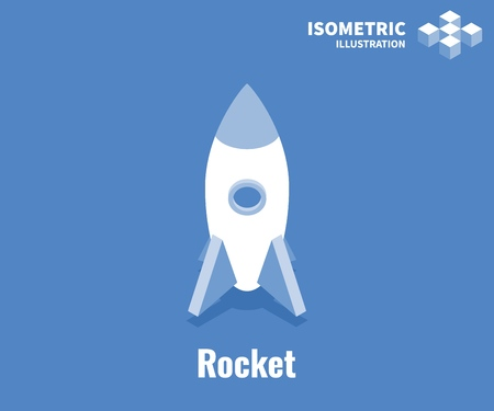 Rocket icon. Business startup concept. Vector 3D illustration isolated on blue background  イラスト・ベクター素材