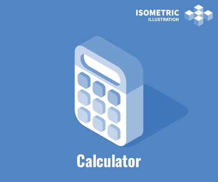 Calculator icon. Savings, finances, economy concept. Vector 3D illustration isolated on blue background  イラスト・ベクター素材