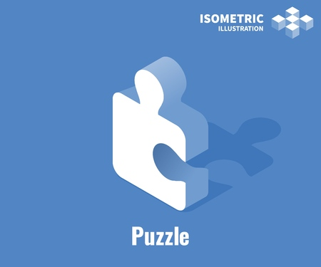 Puzzle icon. Simple solutions concept. Vector 3D illustration isolated on blue background
