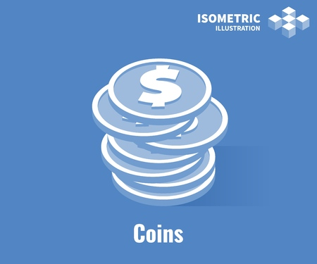 Coins icon. Stack of coins with dollar symbol. Vector 3D illustration isolated on blue background