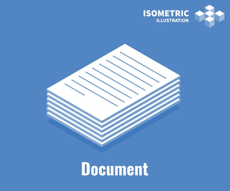 Document icon. Pile of documents, stack of business paper. Vector 3D illustration isolated on blue background