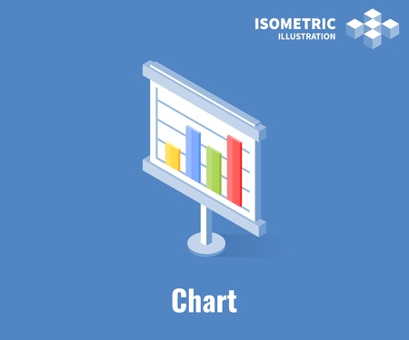 Chart icon. Growth diagram, business infographics. Vector 3D illustration isolated on blue background