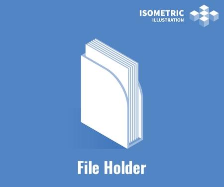 File holder icon. File holder for document or magazine. Vector 3D illustration isolated on blue background Stock Illustratie