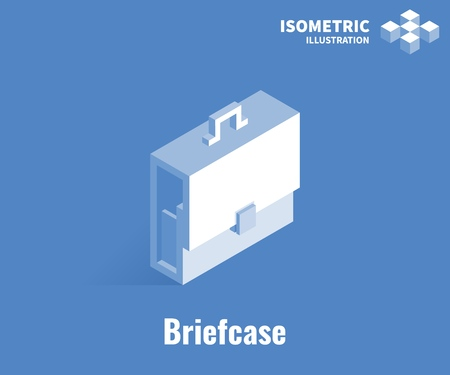 Briefcase icon. Vector 3D illustration isolated on blue background