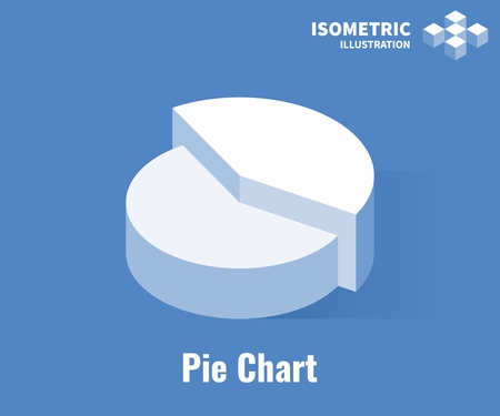 Pie Chart icon. Pie Chart infographic element. Vector 3D illustration isolated on blue background