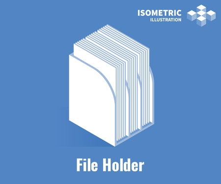 File holder icon. File holder for document or magazine. Vector 3D illustration isolated on blue background Stockfoto - 126855936