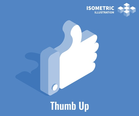 Thumb Up icon. Social network vector 3D illustration. Like symbol isolated on blue background