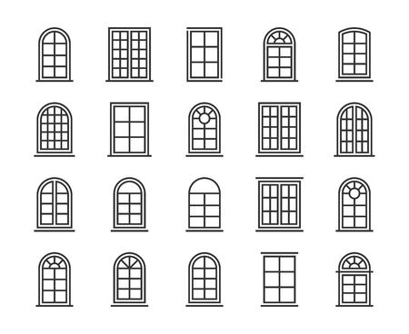 Window icon. Window line icon set. Editable stroke, 64x64 Pixel perfect.