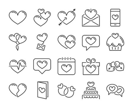 Love icon. Romantic, Hearts , Valentines day line icons set. Editable stroke, 64x64 Pixel perfect. Stockfoto - 126855943