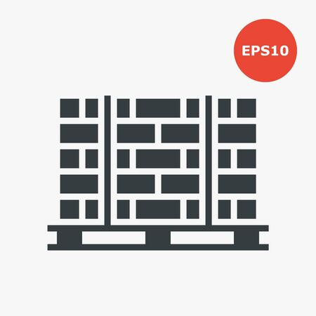 Pallets with bricks icon. Vector illustration in flat style