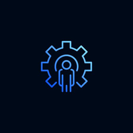 Business man and cog, gear line icon. Vector illustration in linear style Stockfoto - 126855948