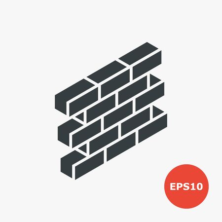Brick wall icon. Vector illustration in flat style