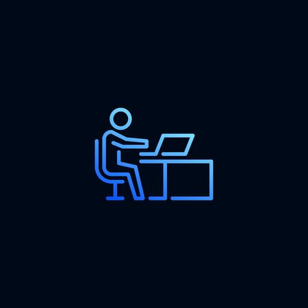 Business man working on laptop computer line icon. Vector illustration in linear style
