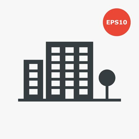 Building icon. Vector illustration in flat style