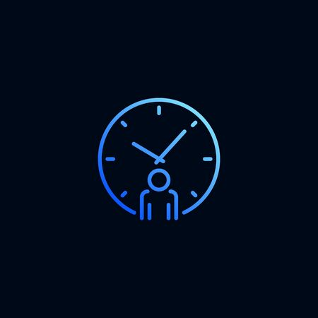 Business man and clock line icon. Vector illustration in linear style Stock Illustratie