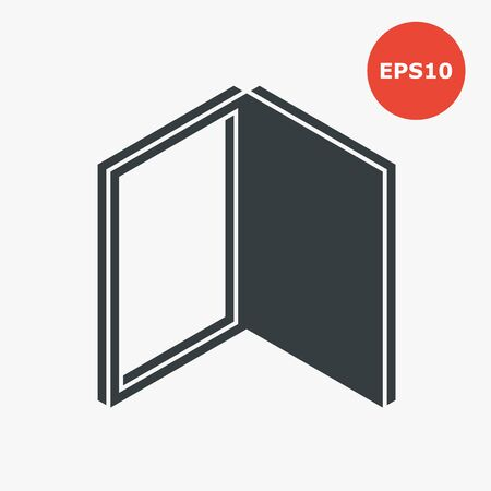 Opened door icon. Vector illustration in flat style