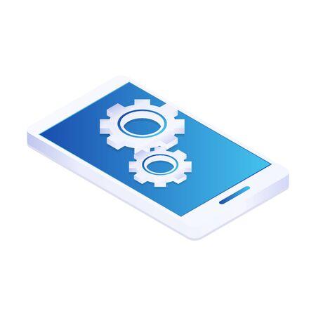 Settings on smartphone screen. Mobile settings menu. Vector isometric 3d Illustration Stock Illustratie