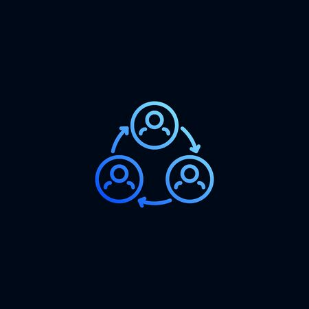 Teamwork line icon. Vector illustration in linear style