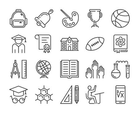 Back to School icon. Education and Learning line icons set. Editable stroke.  イラスト・ベクター素材