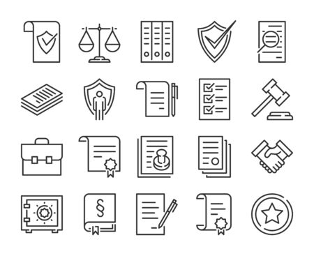 Symbol für juristische Dokumente. Gesetz und Gerechtigkeit Symbolsatz. Bearbeitbarer Strich.
