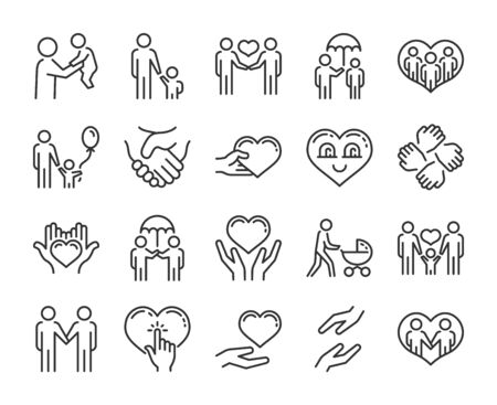 Care icon. Help and sympathy line icon set. Editable stroke.  イラスト・ベクター素材