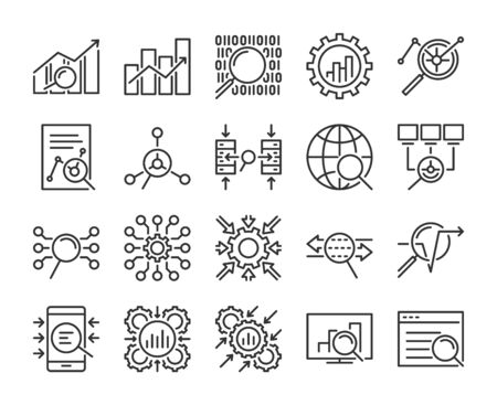 Data Analytics icon. Data Analysis line icons set. Editable Stroke. Pixel Perfect. Stockfoto - 135647792