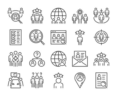 Executive Search icon. Head Hunting line icons set. Editable Stroke. Pixel Perfect.
