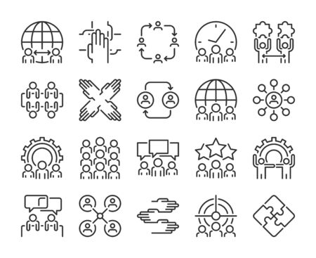 Business people icon. Teamwork line icons set. Editable stroke. Pixel Perfect.  イラスト・ベクター素材