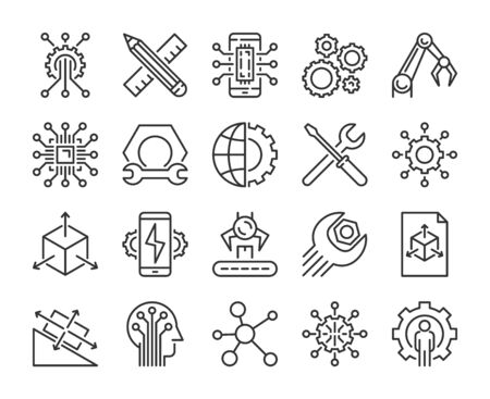 Engineering icon. Engineering and innovation line icons set. Vector illustration.  イラスト・ベクター素材