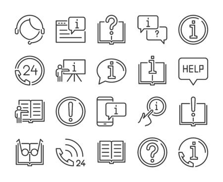 Help icon. Help and Support line icons set. Vector illustration.  イラスト・ベクター素材