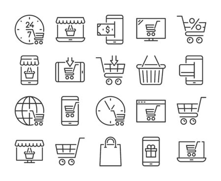 Online shopping icon. E-commerce line icons set. Vector illustration.