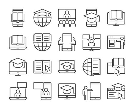 Online Learning icon. Online Education line icons set. Vector illustration.  イラスト・ベクター素材