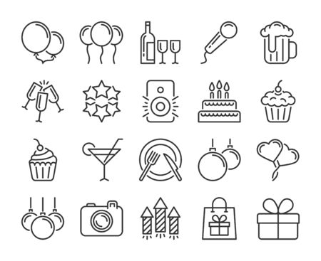20 Party icons. Celebration Party line icon set. Vector illustration.