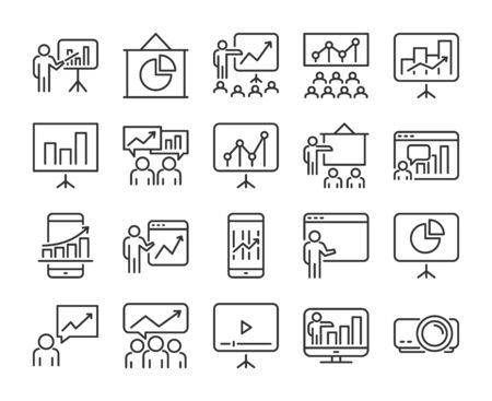 20 Business icons. Business Presentation line icon set. Vector illustration.