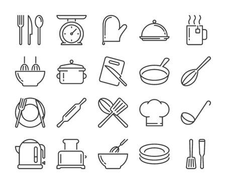 20 kulinarische Ikonen. Küche und Kochen Symbol Leitung. Vektor-Illustration.
