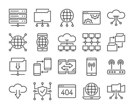 20 Internet technology icons. Network technology line icon set. Vector illustration. Editable stroke