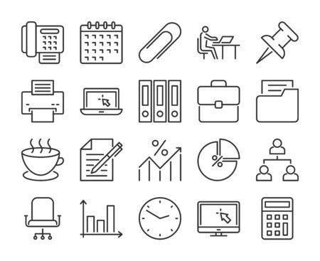 20 Office icons. Office work line icon set. Vector illustration. Editable stroke