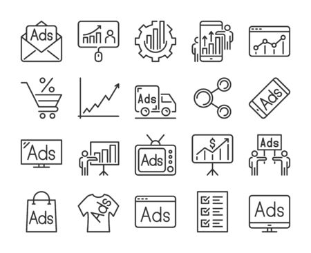 20 Marketing icons. Marketing and Advertising line icon set. Vector illustration. Editable stroke.