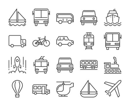 20 Transport icons. Transportation line icon set. Vector illustration. Editable stroke.