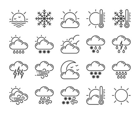20 Weather icons. Weather Forecast line icon set. Vector illustration. Editable stroke.  イラスト・ベクター素材