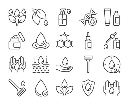 Skin care icon. Natural Skin Care Ingredients line icons set. Editable stroke.  イラスト・ベクター素材