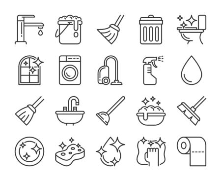 Cleaning icon. Cleaning and Household Supplies line icons set. Editable stroke.