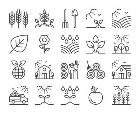 Farm icon. Agriculture and Farming line icons set. Editable stroke.  イラスト・ベクター素材