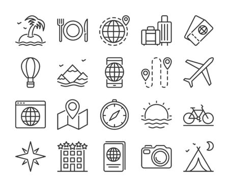 Travel icon. Tourism and Travel line icons set. Editable stroke.  イラスト・ベクター素材