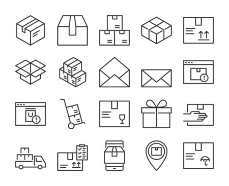 Package icon. Package Delivery line icons set. Editable stroke.  イラスト・ベクター素材